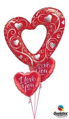 Red Valentine Hearts Balloon Bouquet