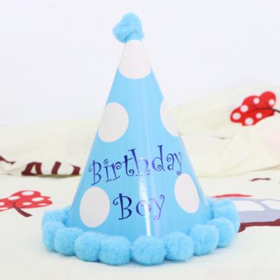1pk Blue White Spots Happy Birthday Boy Hats