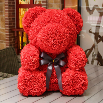 25cm Red/Pink Rose Flower Teddy Bear