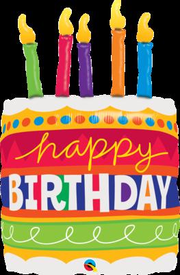 Qualatex Supershape Foil Balloon Birthday Cake & Candles 35''