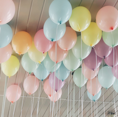 50 Ceiling Pastel Colour Helium Balloons