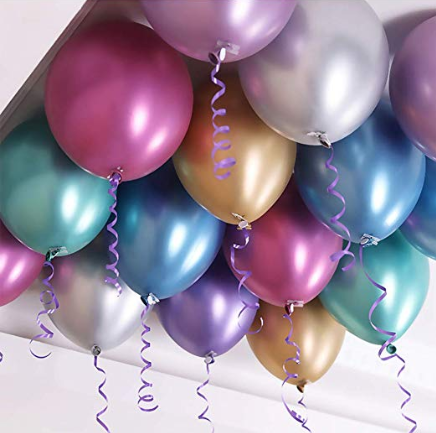 50 Ceiling Chrome Helium Balloons