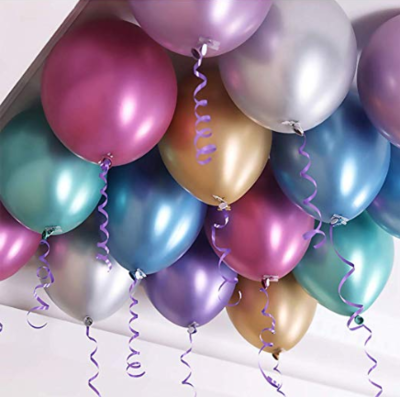 100 Ceiling Chrome Helium Balloons