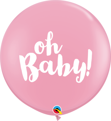 36 inch/90 cm Oh Baby Latex Balloon Pink