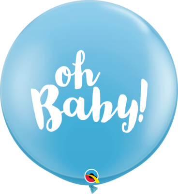 36 inch/90 cm Oh Baby Latex Balloon Pale Blue