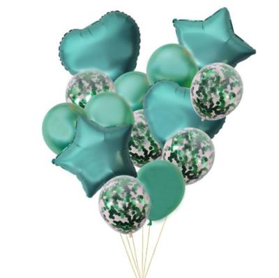 Green Star & Heart Chrome Latex Balloon/Confetti Balloon Bouquet with Helium