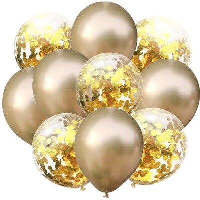 Chrome Gold Confetti Latex Balloon Bouquet with Helium