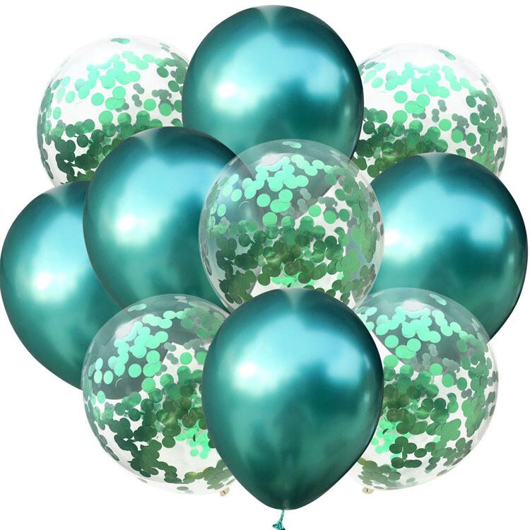 Chrome Green Confetti Latex Balloon Bouquet with Helium