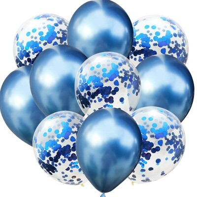 Chrome Blue Confetti Latex Balloon Bouquet with Helium