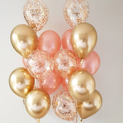 2 Sets of Chrome Gold Rose Gold Confetti Balloon Bouquet with Helium