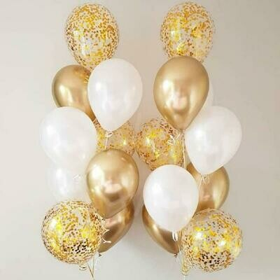 2 Sets of Chrome Gold Confetti Balloon Bouquet with Helium