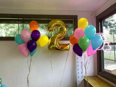 90cm Jumbo Number & 22 Rainbow Colour Latex Balloons