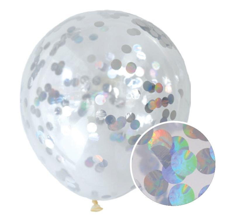 30 cm Confetti Helium Balloon Iridescent (Foil) Pack of 3