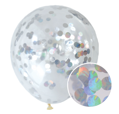 30 cm Confetti Helium Balloon Iridescent (Foil) Pack of 3