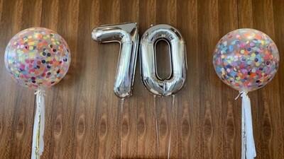 2*90 cm Jumbo Number & 2*90 cm Confetti Balloons