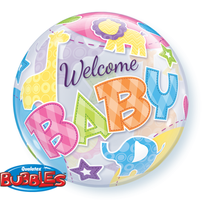 Welcome Baby Animal Patterns Bubble Balloon