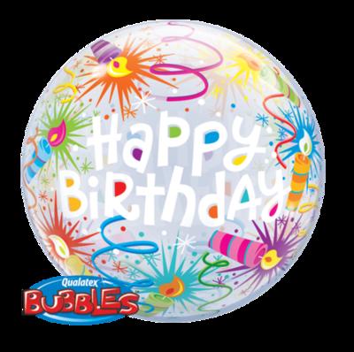 Birthday Lit Candles Bubble Balloon