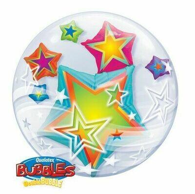 Multicolored Stars Double Bubble Balloon