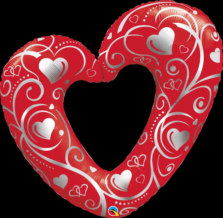Qualatex Supershape Foil Balloon Hearts & Filigree Red 42''