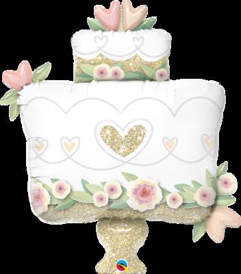 Qualatex Supershape Foil Balloon Glitter Gold Wedding Cake 41''