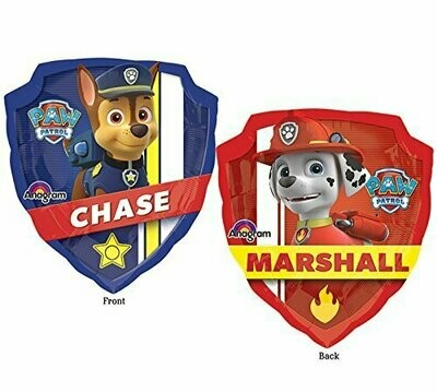 Paw Patrol Licensed Chase/Marshall (63cm x 68cm) Foil Balloon