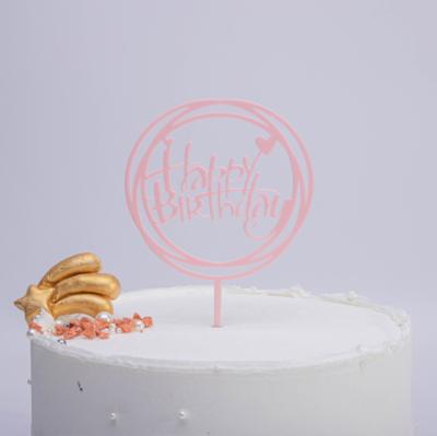Cake Topper Round Pink Happy Birthday