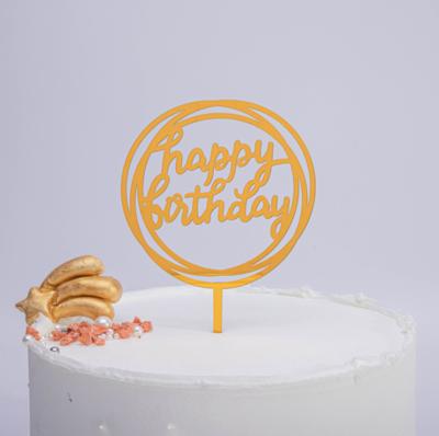 Cake Topper Round Gold Happy Birthday