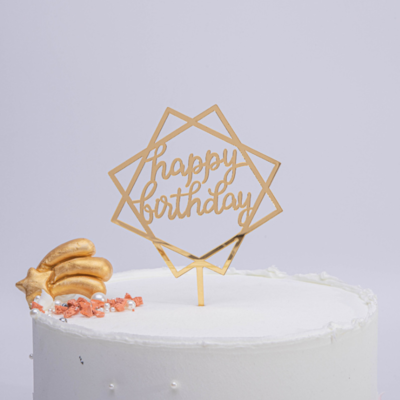 Cake Topper Gold Happy Birthday