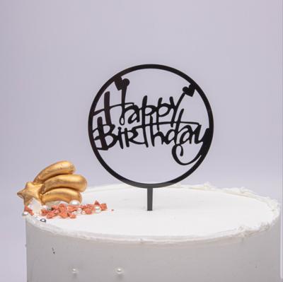 Cake Topper Round Black Happy Birthday