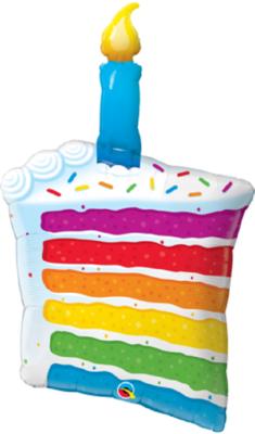 Qualatex Supershape Foil Balloon Rainbow Cake & Candle 42''
