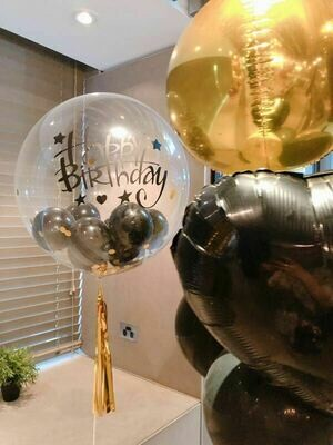 """""""HAPPY BIRTHDAY"""" Printed Bubble Balloon with Small Balloon inside"""