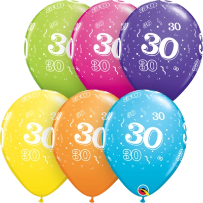 30th Birthday 30 cm Tropical Assorted Helium Latex Balloon