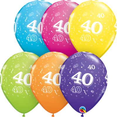 40th Birthday 30 cm Tropical Assorted Helium Latex Balloon