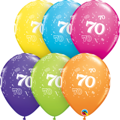 70th Birthday 30 cm Tropical Assorted Helium Latex Balloon