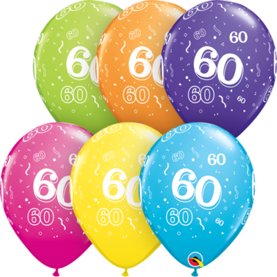 60th Birthday 30 cm Tropical Assorted Helium Latex Balloon