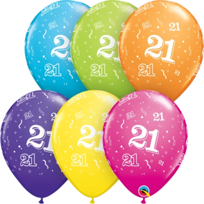 21st Birthday 30 cm Tropical Assorted Helium Latex Balloon