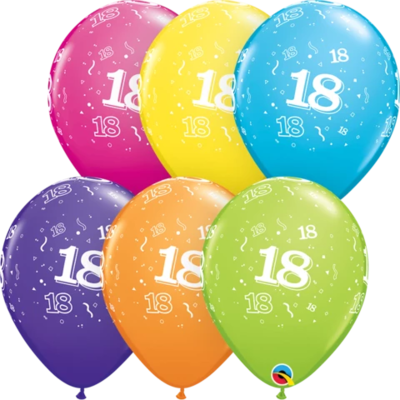 18th Birthday 30 cm Tropical Assorted Helium Latex Balloon