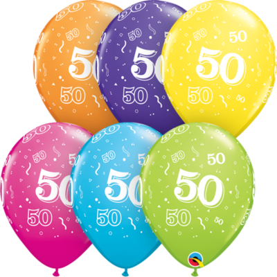 50th Birthday 30 cm Tropical Assorted Helium Latex Balloon