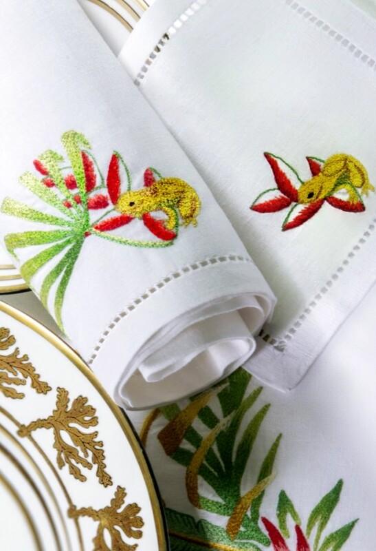 RN Renaissance Paris 100% Linen Jungle Napkins,Nature Inspiration