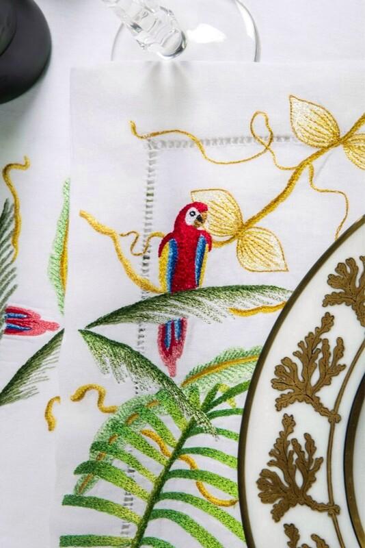 RN Renaissance Paris, 100% Linen Jungle Placemat & Napkin,