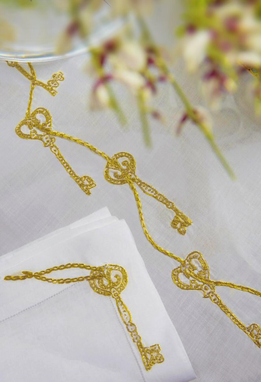RN Renaissance Paris Clés Secrètes Gold Embroidered Tablecloth,Prestige