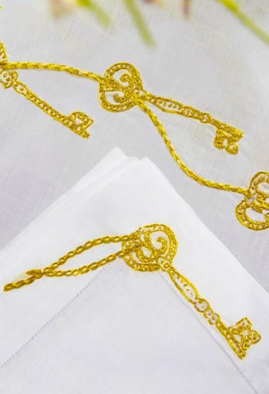 RN Renaissance Paris Clés Secrètes Gold Embroidered Napkins, Prestige