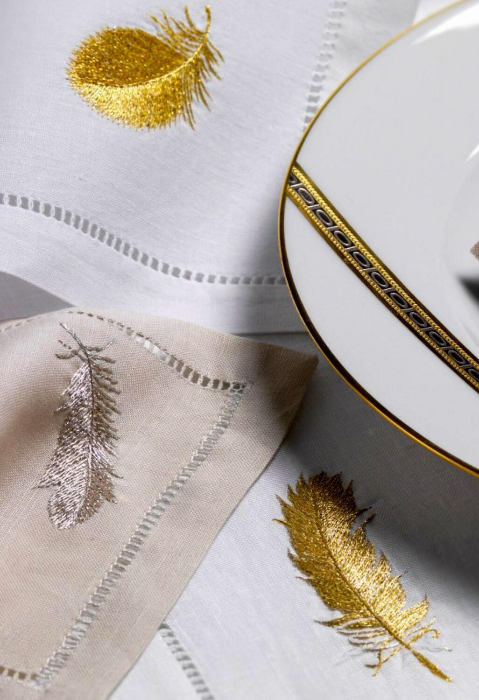 RN Renaissance Paris Plumes Gold Embroidered Tablecloth,Prestige