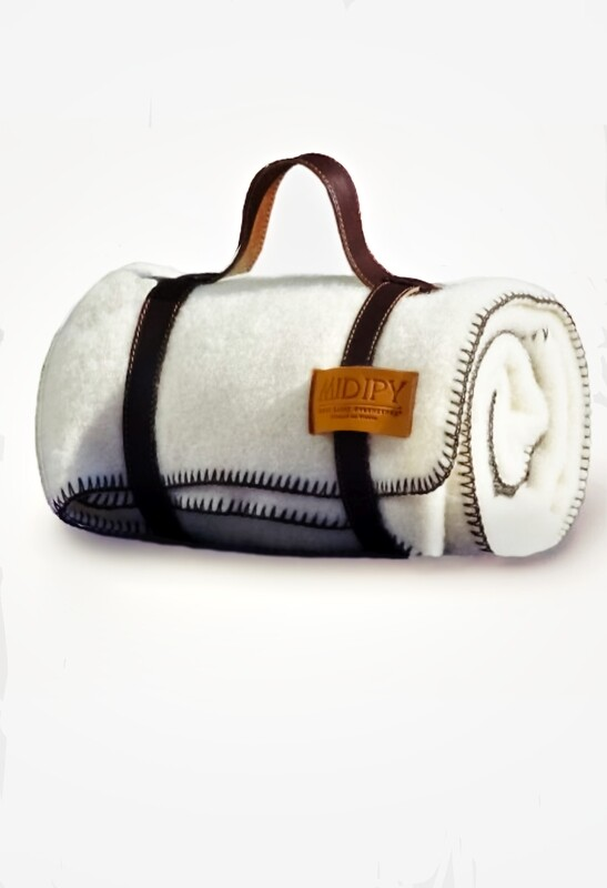 Midipy Ivory Plaid Child with its Chocolate Stitch and Its Leather Strap