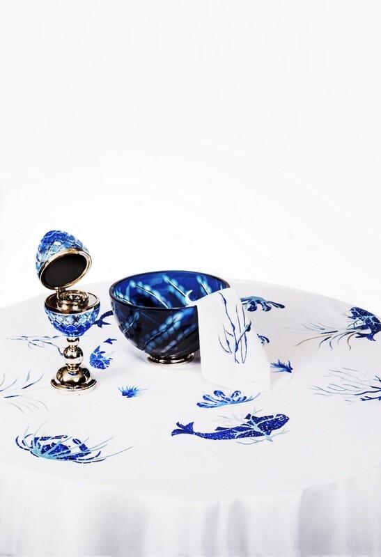 RN Renaissance Paris 100% Linen tablecloth,Sea  Inspiration