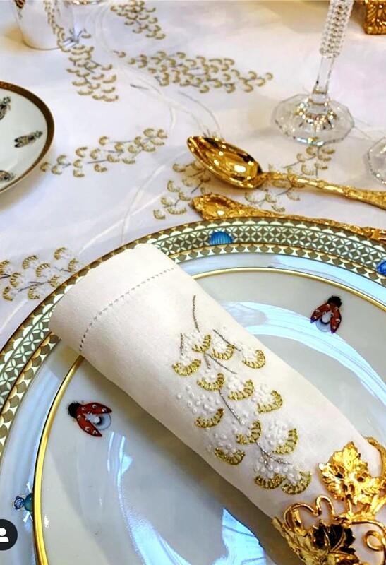 RN Renaissance Paris Plumetis Gold Embroidered Napkins,Prestige