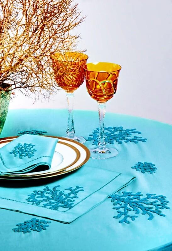 RN Renaissance Paris Linen Embroidered Coraux Turquoise Tablecloth,Nature Inspiration
