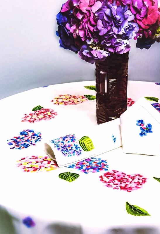 RN Renaissance Paris 100% Linen Hortensia, Tablecloth,Nature Inspiration