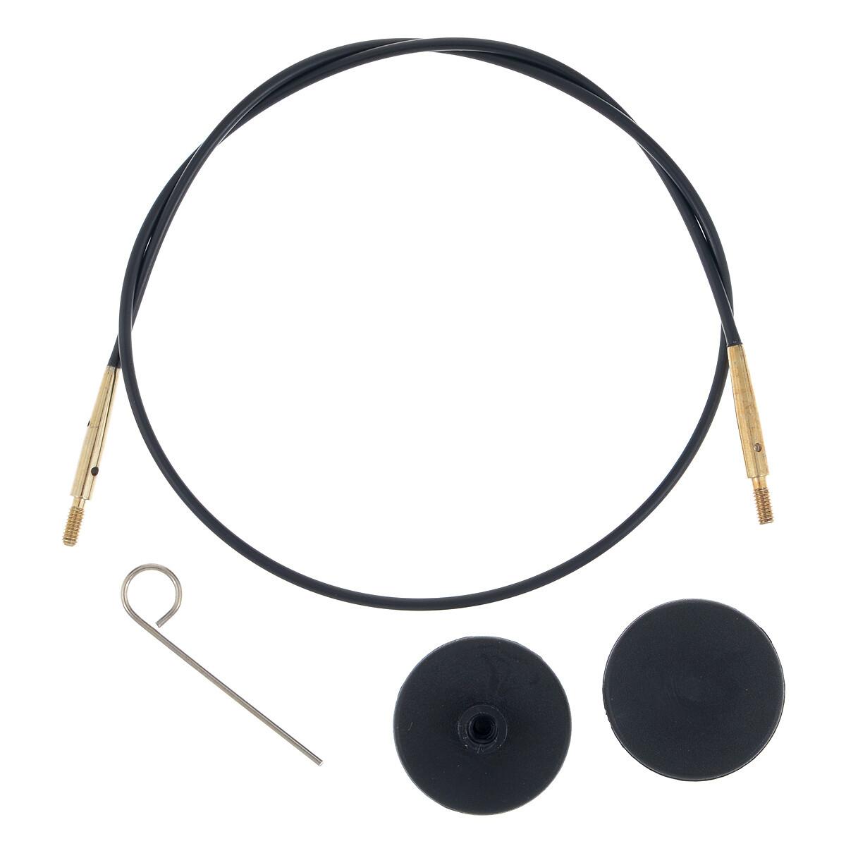 Тросик для съемных спиц с золотым напылением 24К длина 76 (100)см, KnitPro (копия)