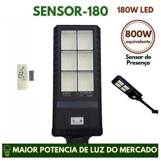 Poste Energia Solar 180W Led Poste SMD Solar 180W 6500K Branco Frio